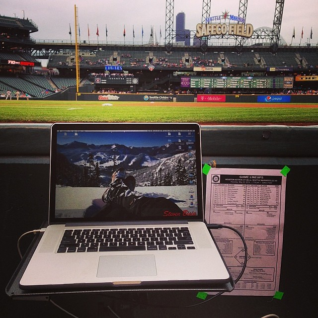 Tonight's #office (and #desk). #mlb #mariners #astros #photography #sports #seattle #houston
