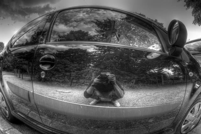 HDR B&W autoportrait in the car