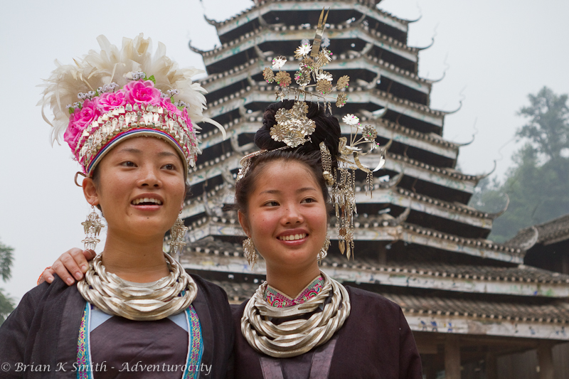 Dong Girls and Drum Tower in Zhaoxing by Adventurocity