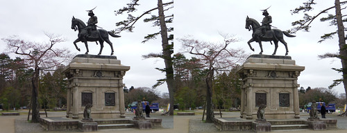 Statue of Date Masamune, stereo parallel view
