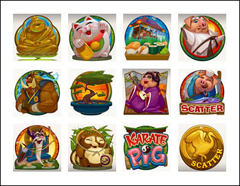 free Karate Pig slot game symbols