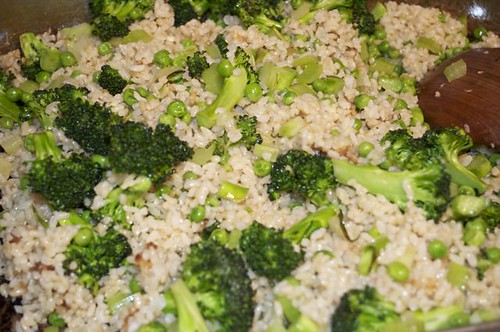 green rice/stirred