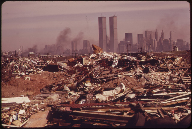 DOCUMERICA: Illegal Dumping Area off the New Jersey Turnpike, Facing Manhattan Across the Hudson River. Nearby, to the South, Is the Landfill Area of the Proposed Liberty State Park, 03/1973 by Gary Miller.