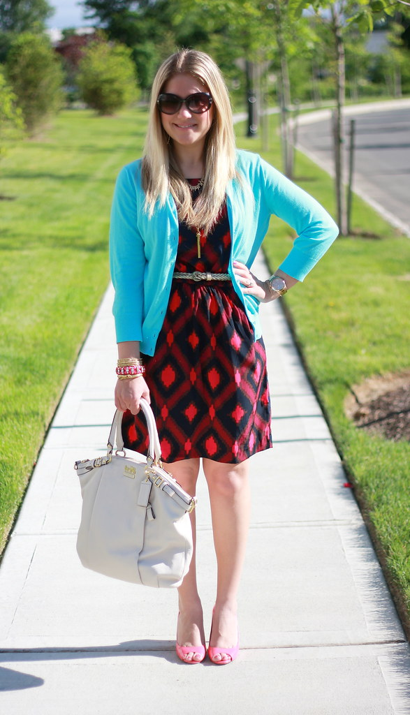 Turquoise Cardigan Office Outfit Ikat Dress