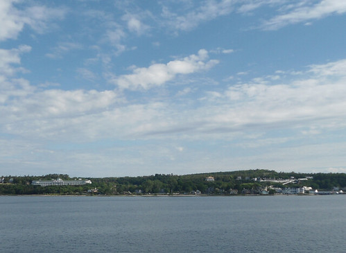 approaching Mackinac Island with view of the Grand Hotel and Fort Mackinac