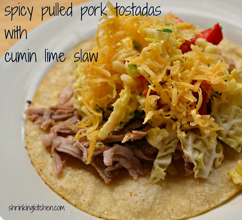 spicy pulled pork tostadas with cumin lime slaw