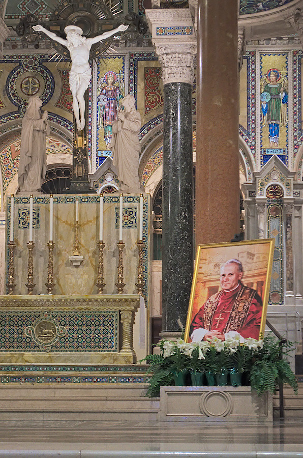 Cathedral Basilica of Saint Louis, in Saint Louis, Missouri, USA - sanctuary with portrait of Pope John Paul II