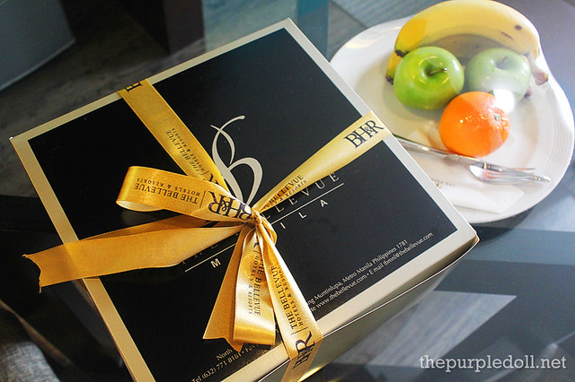 B Hotel Alabang Penthouse Suite Welcome Fruits and Chocolate Cake
