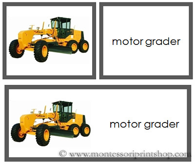 Construction Vehicles - Words and Picture Cards from Montessori Print Shop