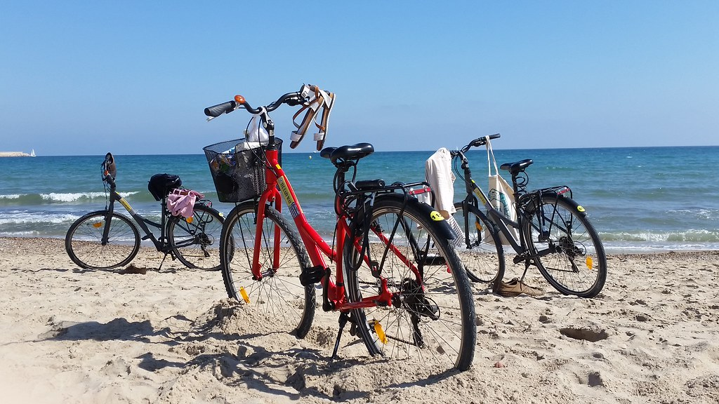 Bicycles in beach