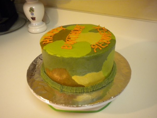 Terrific Camo Birthday Cake Marble Cake With Buttercream Camo Icing Funny Birthday Cards Online Overcheapnameinfo