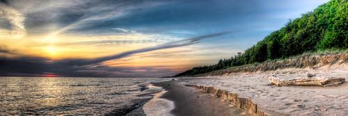 sunset lake beach michigan panoramic lakemichigan pure hdr muskegon corysmith puremichigan