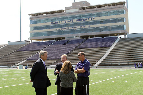 Agriculture Secretary Tom Vilsack visits the Bill Snyder Family Football Stadium at Kansas State University, in Manhattan, KS, on Tuesday, April 10, 2012. USDA Photo by Jessica Bowser.