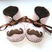 moustache baby girl booties