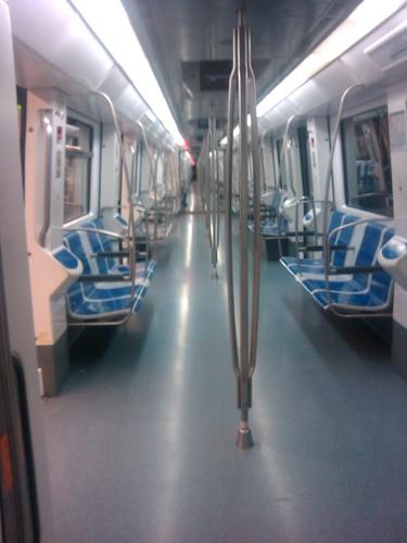 An empty Barcelona metro train by simonharrisbcn