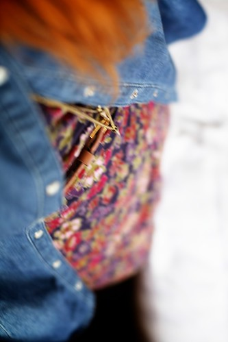 17.05.12 :: DIY Denim Gold Studded Collar Shirt with Mum's Floral Wrap Dress and @LamaPeach Paige Boots.
