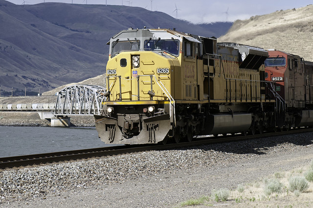 UP 8265 WB at John Day River, Goff OR