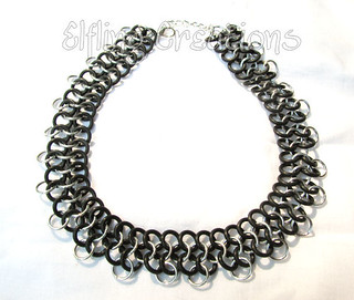 Black and Silver Rubber Chainmaille Choker Necklace