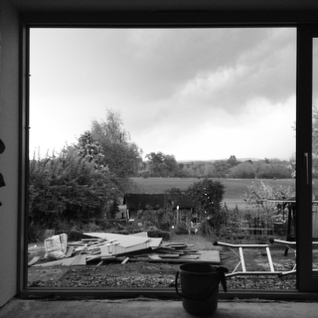 Picture window clearing storm