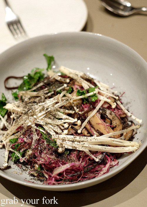 Mushroom with red cabbage and black sesame at Pinbone, Woollahra