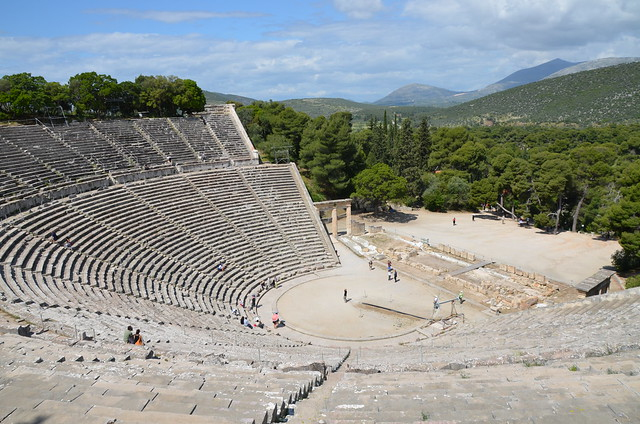 The great theater of Epidaurus, designed by Polykleitos the Younger in the 4th century BC, Sanctuary of Asklepeios at Epidaurus, Greece