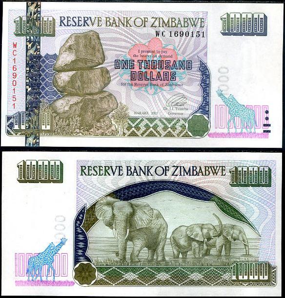 1000 Dolárov Zimbabwe 2003, Pick 12