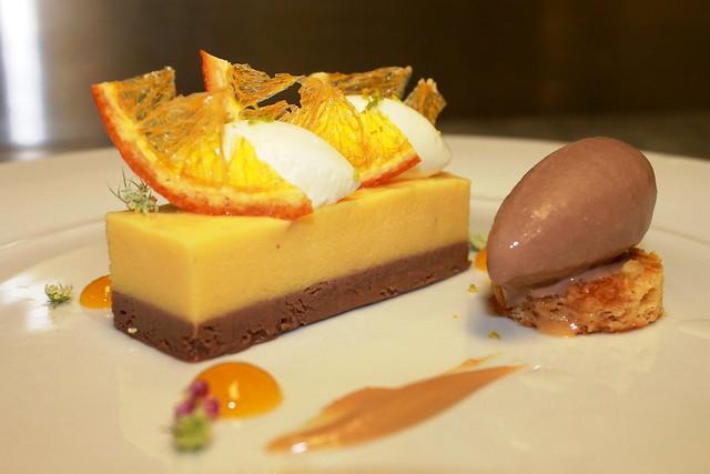 Orange Cremeux, Milk Chocolate Hazelnut Cream, caramelized hazelnut ...