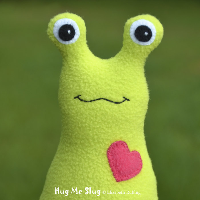 Bright green Hug Me Slug Twitter profile photo by Elizabeth Ruffing