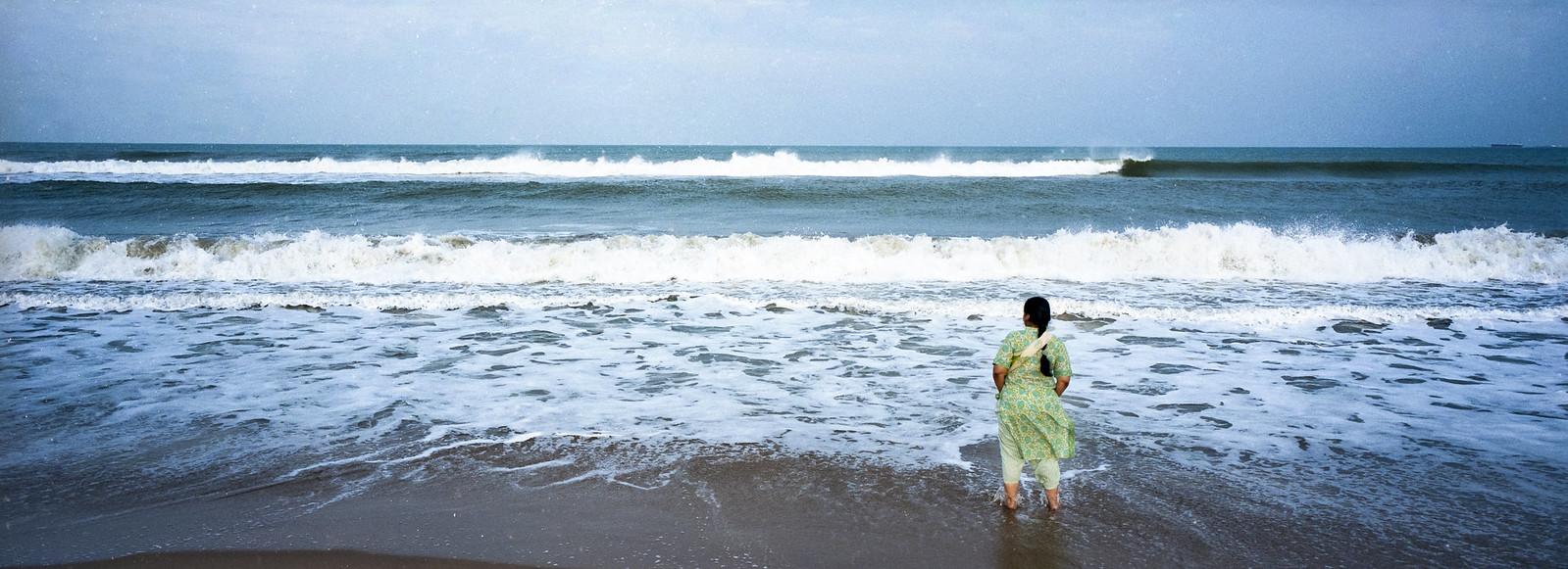 Mum at the Beach, Madras, India
