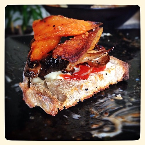 "Hugely impressed with @dollaveet's mayo, Sriracha, mushroom, sweet potato ""tartine""."