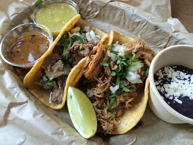 Carnitas and lengua tacos - Uno Dos Tacos