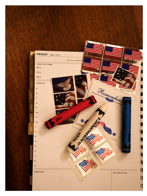 Red White Blue Crayons Flag Stamps with The Day Designer