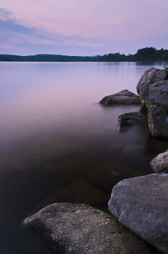 sunset lake evening still rocks newengland auburn nh calm shore stillness lakemassabesic