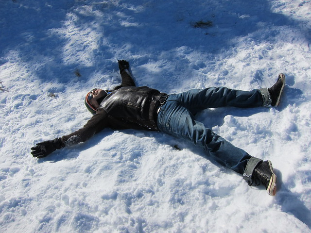 Making snow angel at Perisher Ski Resort, Australia