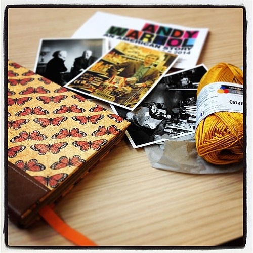 #100happydays 43: Saw the #AndyWarhol #AnAmericanStory exhibit, brought #yarn for a new #cap from @lankakauppakera and traded some yarn to a beautiful handmade book (made by @jfrolicc <3) in a knitting meeting. Quite a good day! #catania #art #handmadeboo