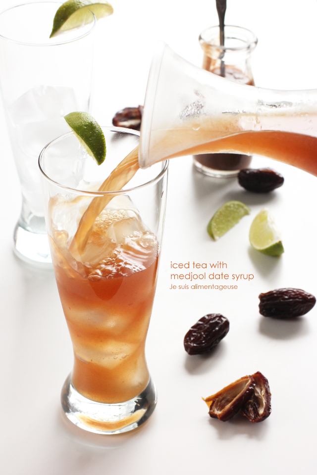 Cool down this summer with iced tea sweetened with Medjool date syrup!