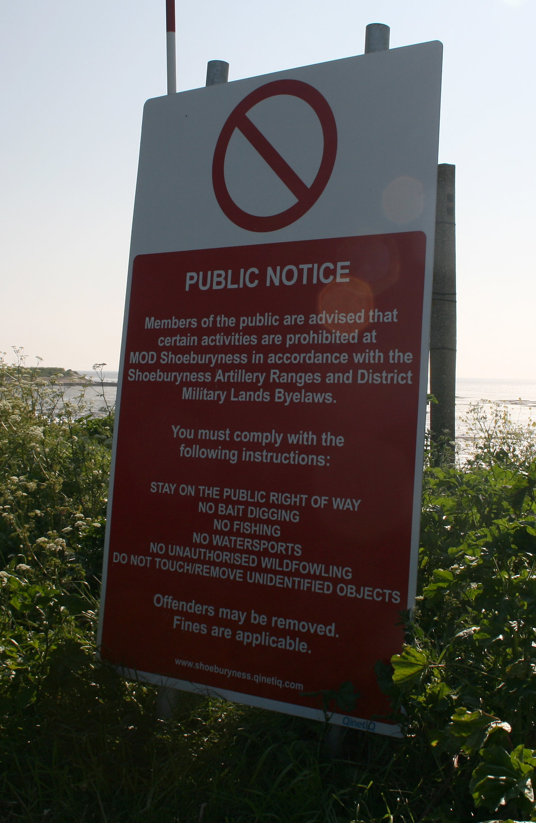 """The Broomway warning notice The Broomway is a tidal byway out to Foulness Island over Maplin Sands at the mouth of the Thames estuary. The route is so called because it used to be marked by branches of Broom placed at regular intervals on the route. However these have long since gone and the path is now unmarked. The path is dangerous because the tide comes in as fast as you can run and there are quick sands and mud in places if you stray off the route. Foulness Island itself is part of a firing range and most of it is """"out of bounds"""" to the public with the exception of the south east corner of the island, which has a couple of villages and farms. The only road to the island can only be used by MOD permit holders, so the only way for the public to reach the island is by boat or by walking the Broomway."""