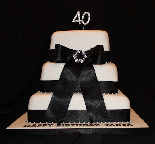 Birthday Cake Pictures Black And White : Black and White 40th Birthday Cake Explore CakesByAdele ...