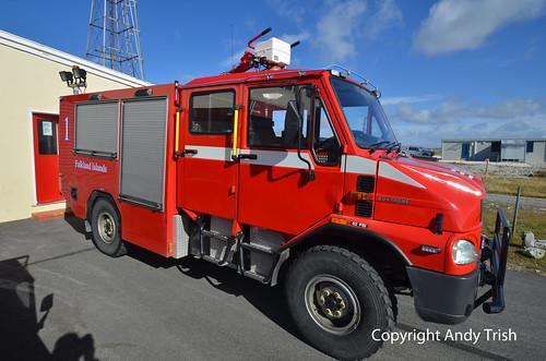 truck fire islands crash engine airfield falkland bremach
