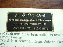 Fa. G.M. Oord, Grammofoonplaten + Pick-ups, Grote Houtstraat 145, Haarlem Tel: 023 - 311076