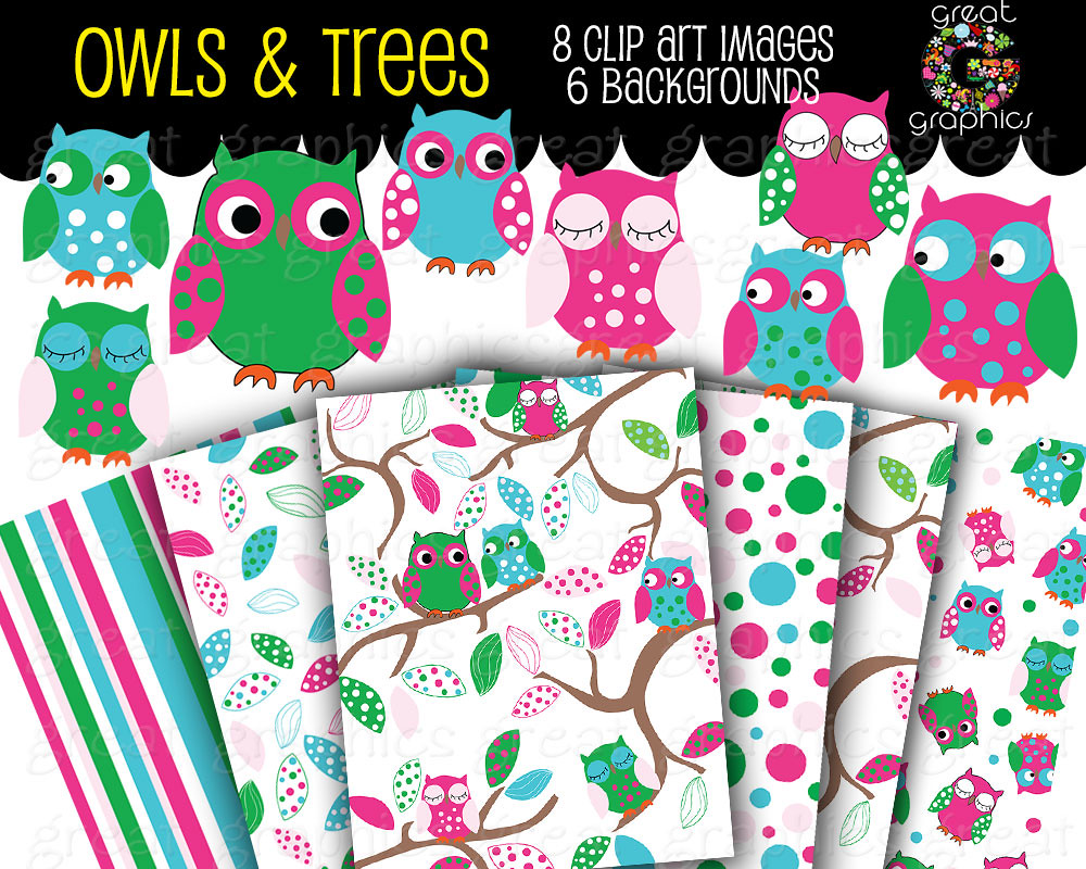 Owl Digital Clip Art and Backgrounds