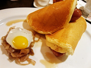Pancakes with hotdogs & eggs