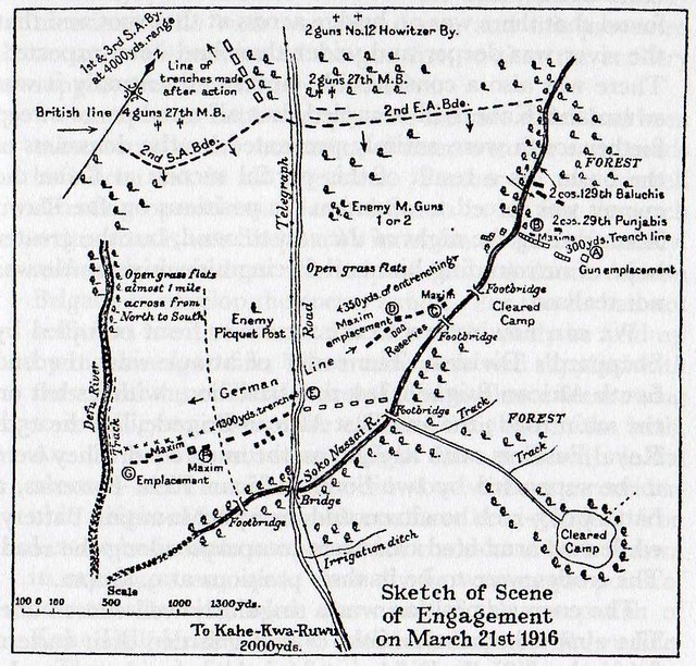 Sketch map of Soko-Nassai action on 21st March 1916