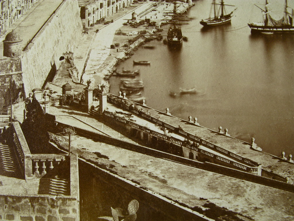 More Idle men on rooftop outside Marina Gate Valletta Malta, 1865