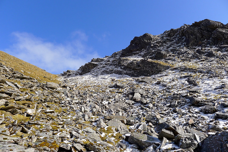 Looking up the gully to the ridge
