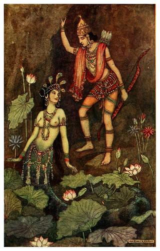 003-Arjuna y la ninfa del rio-Indian myth and legend 1913-Warwick Goble