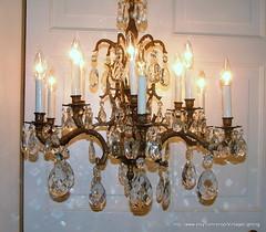 Vintage 108 Glass Crystal Prisms Brass Chandelier Lighting Lamp Hanging Ceiling Light Fixture 6 Arms 12 Sockets