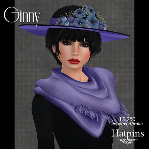 Hatpins - Ginny Hat - Lavender Blue