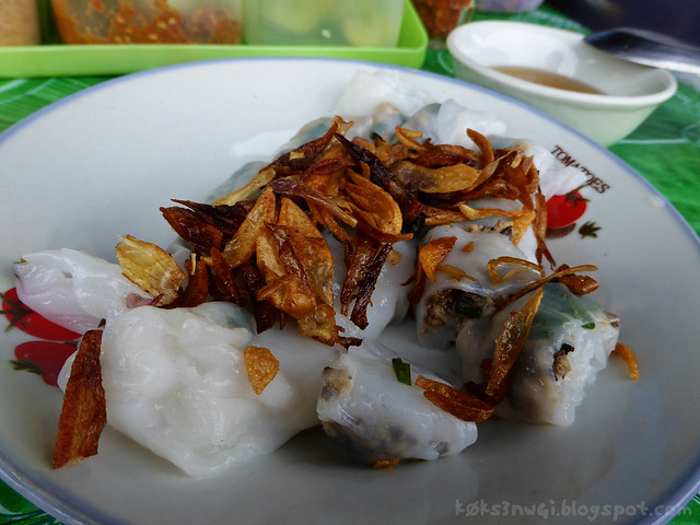 Luang Prabang Rice Noodle Roll (Lao-style Chee Cheong Fun) Topped with Crispy Fried Onions