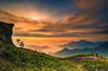 Background blur sea fog on the mountain with the sky and clouds of yellow, orange, Phu Chi Fa Thailand.